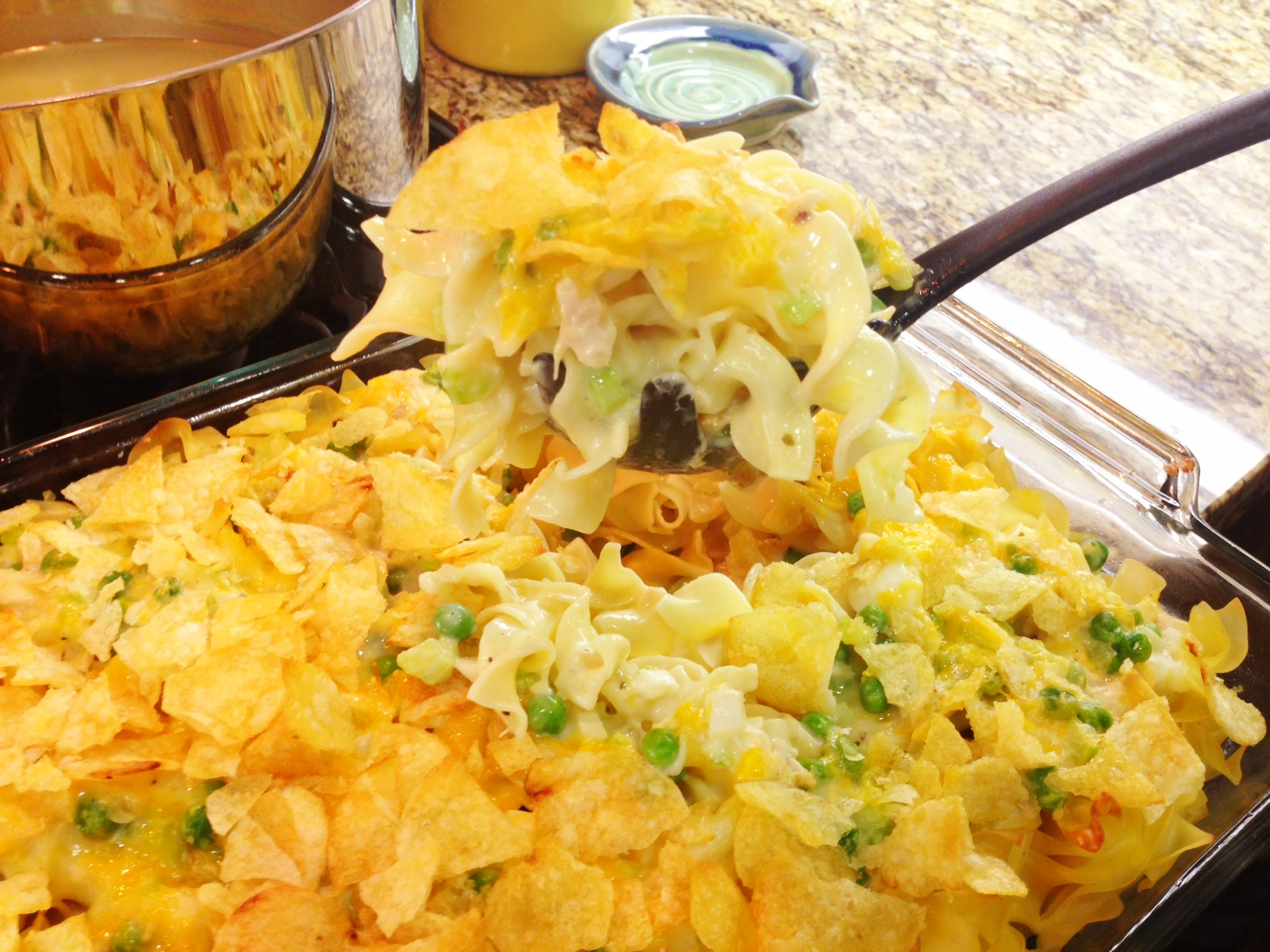 Tuna Noodle Casserole with a Potato-Chip Crust