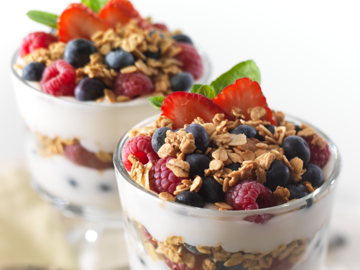 healthy fruit spread fruit and yogurt parfait