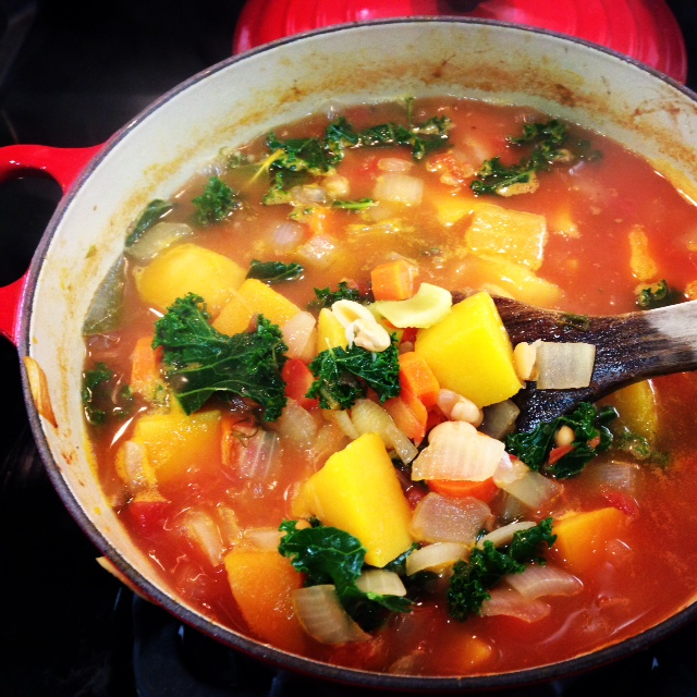 Winter Vegetable Kale Minestrone Soup Recipe