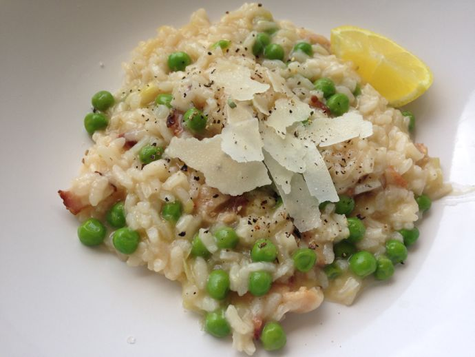 Leek, Bacon, And Pea Risotto Recipe — Dishmaps