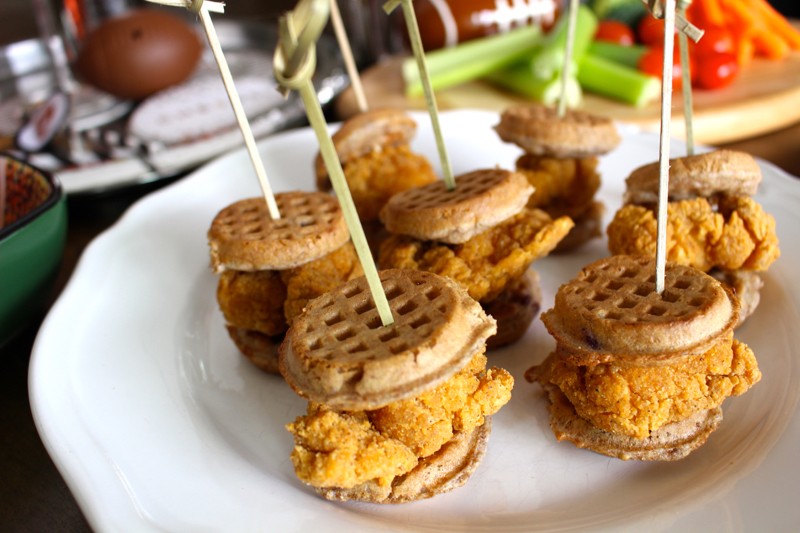mini chicken waffles sliders