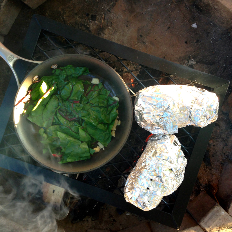 swiss chard saute camping meals