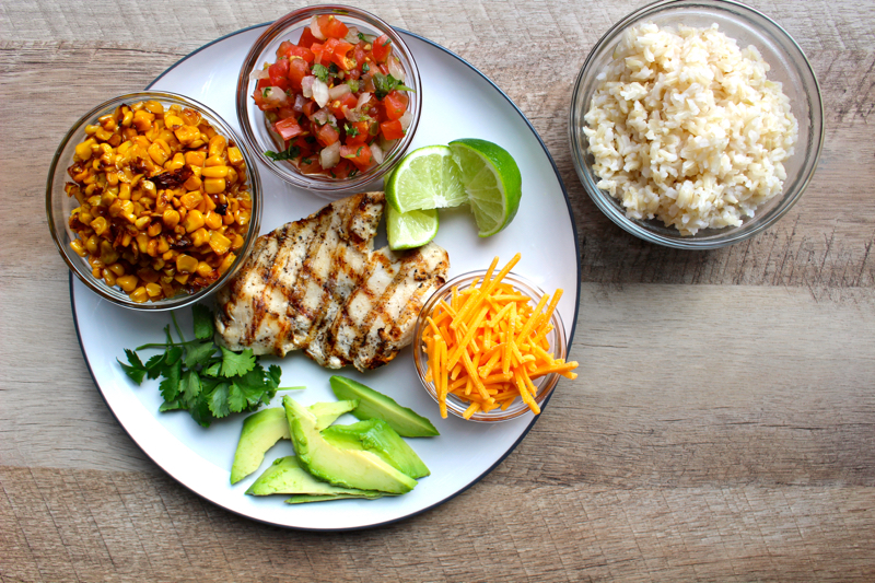 brown rice chicken burrito bowl
