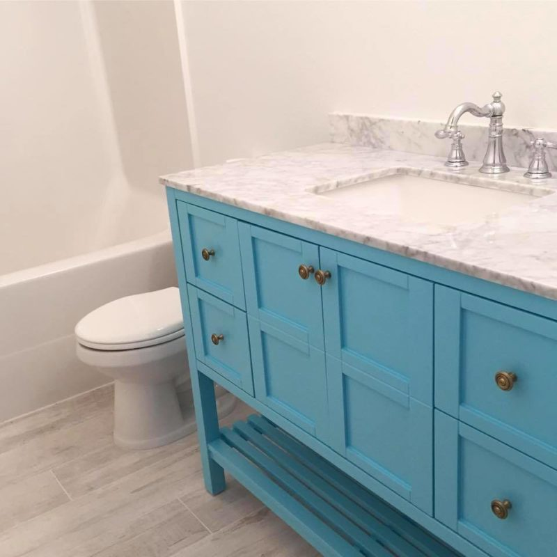 blue bathroom vanity