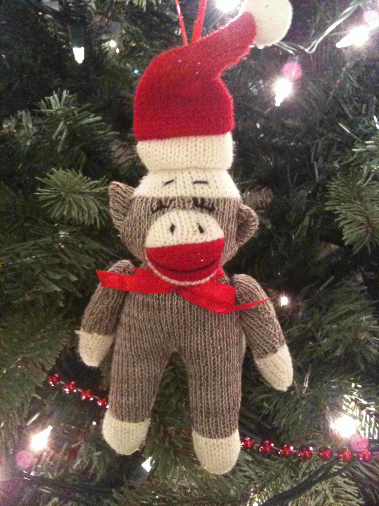 my beloved christmas sock monkey ornament